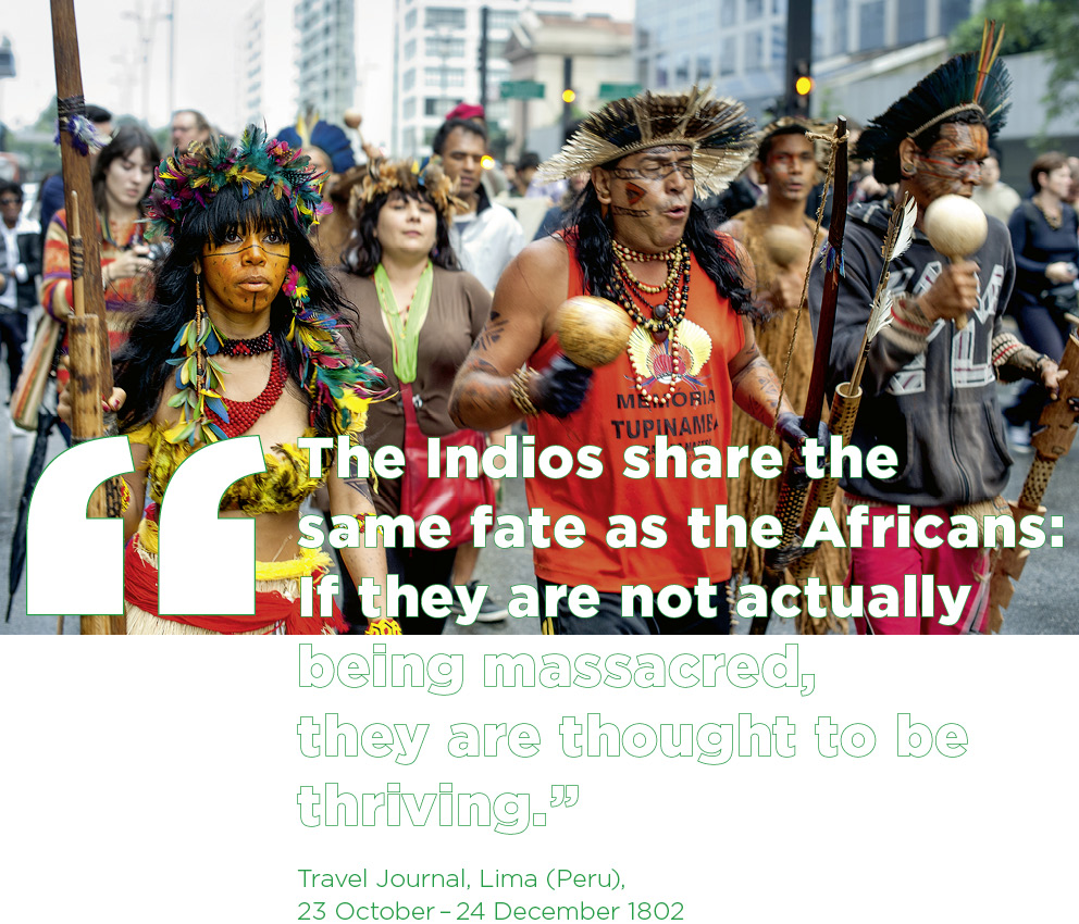 São Paulo, Brazil: Indigenous people protest against threats to ancestral land rights in 2015.