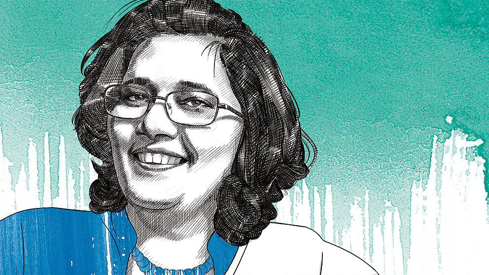 The illustration shows Professor Dr Urmila Pyakurel